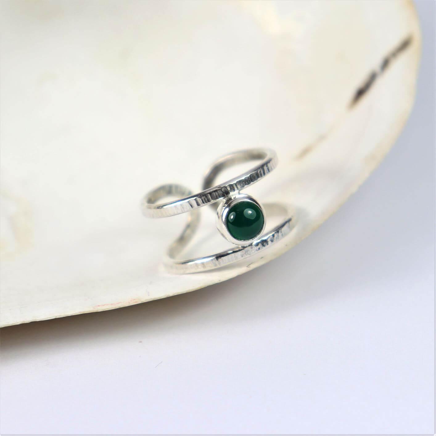 Pierścionek Simple z agatem zielonym