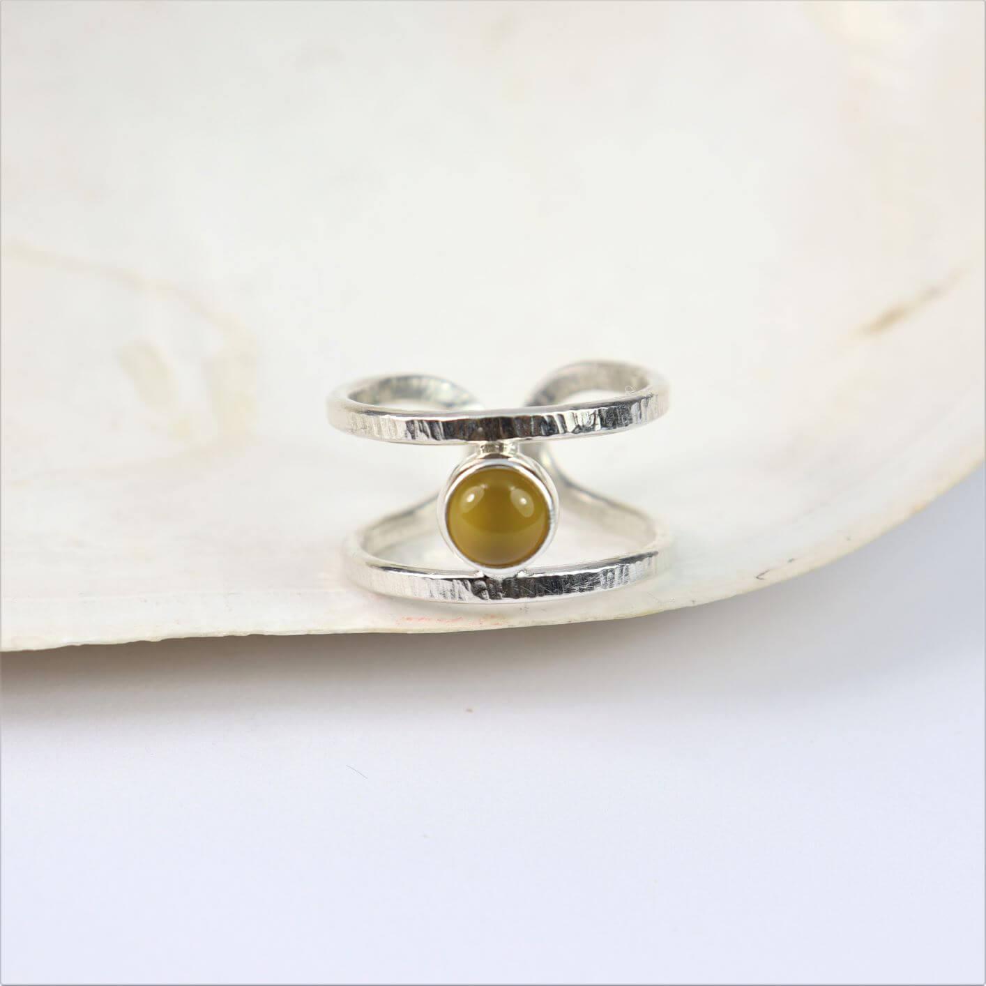 Pierścionek Simple z agatem żółtym