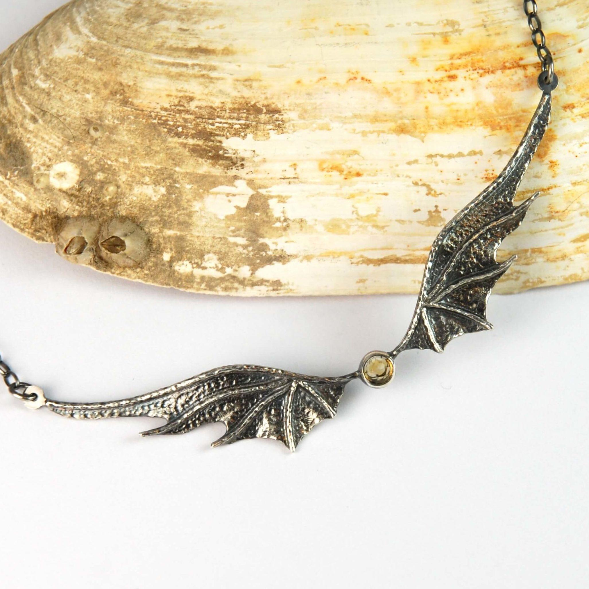 Naszyjnik Long Dragon Wings Premium z cytrynem