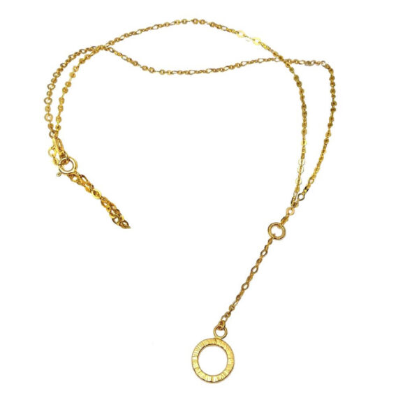 Długi naszyjnik ze srebra złoconego zakończony ozdobnym kółkiem