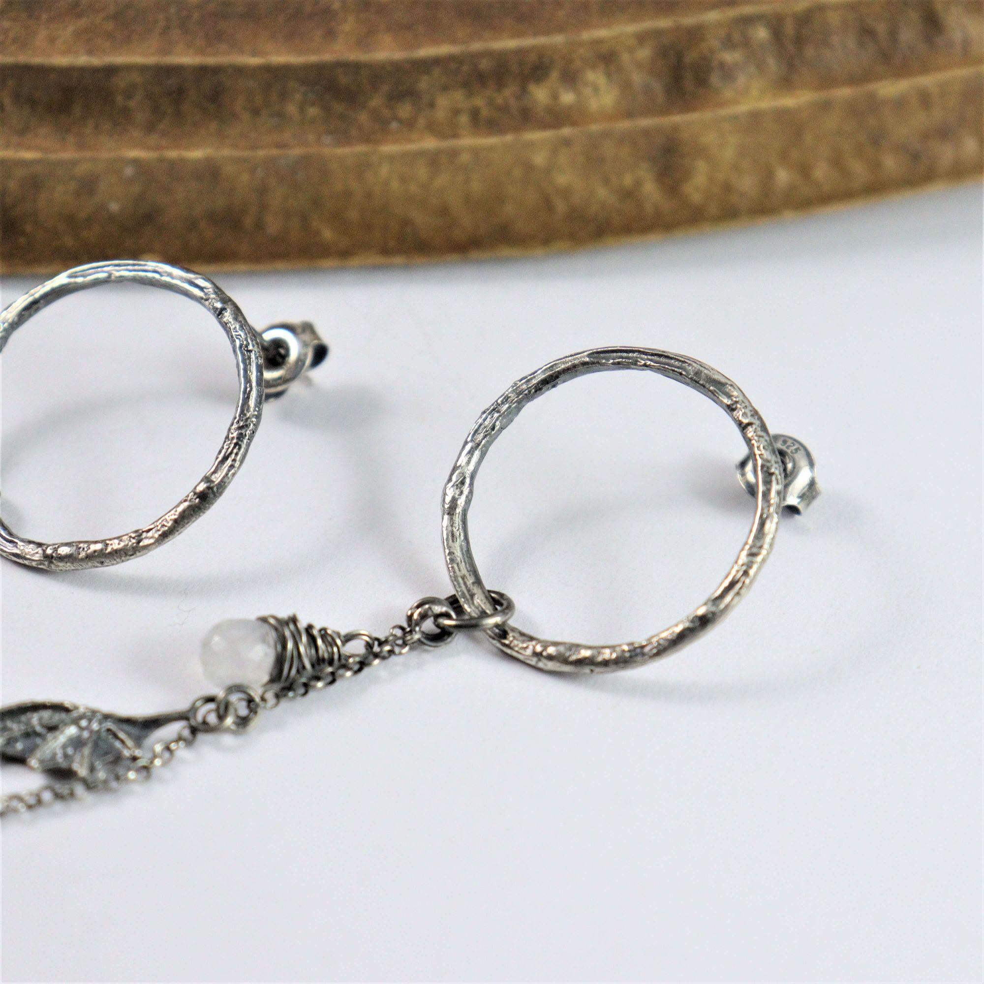 Kolczyki Ring Dragon Wings Mini z kamienami księżycowymi