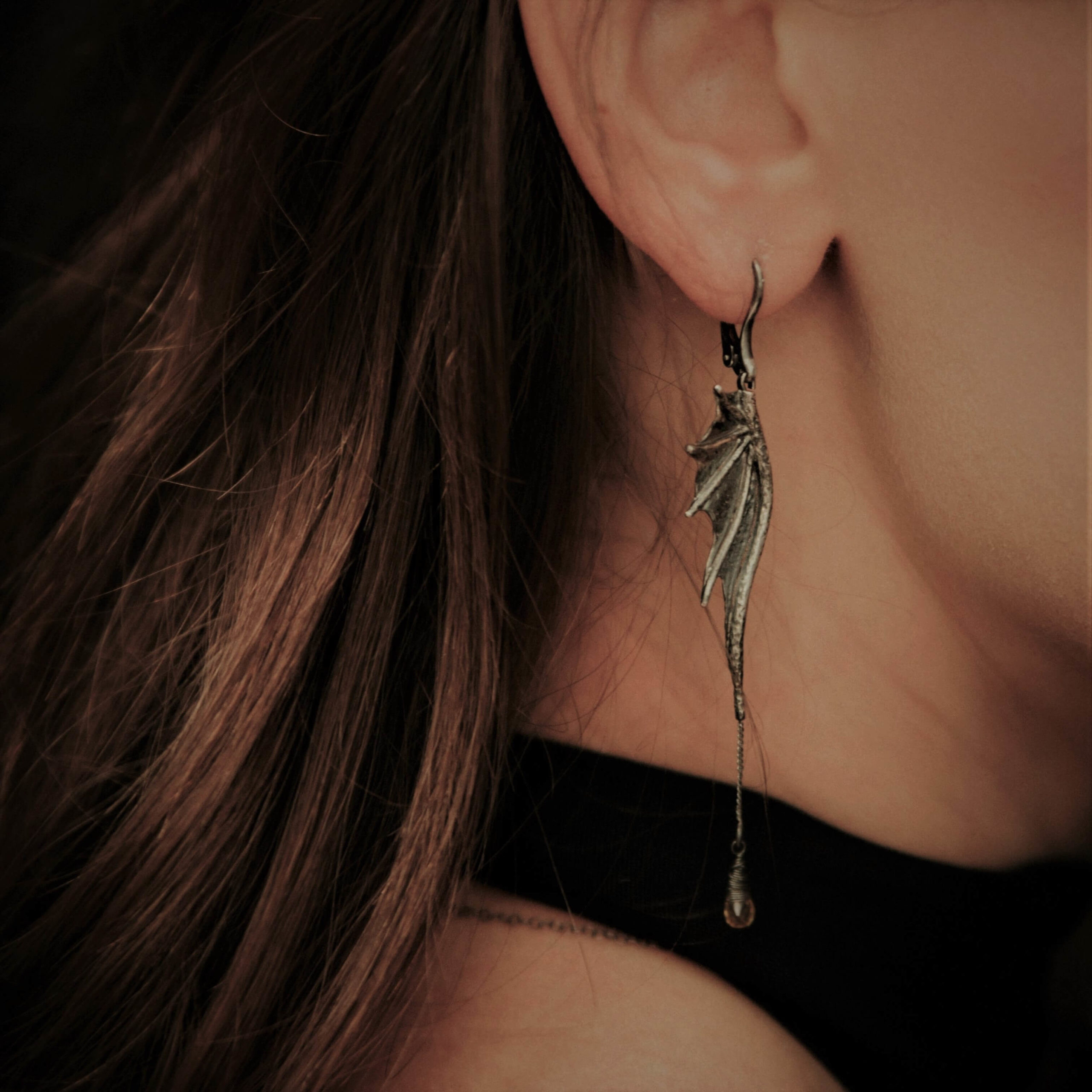Kolczyki Long Dragon Wings Chain z cytrynami