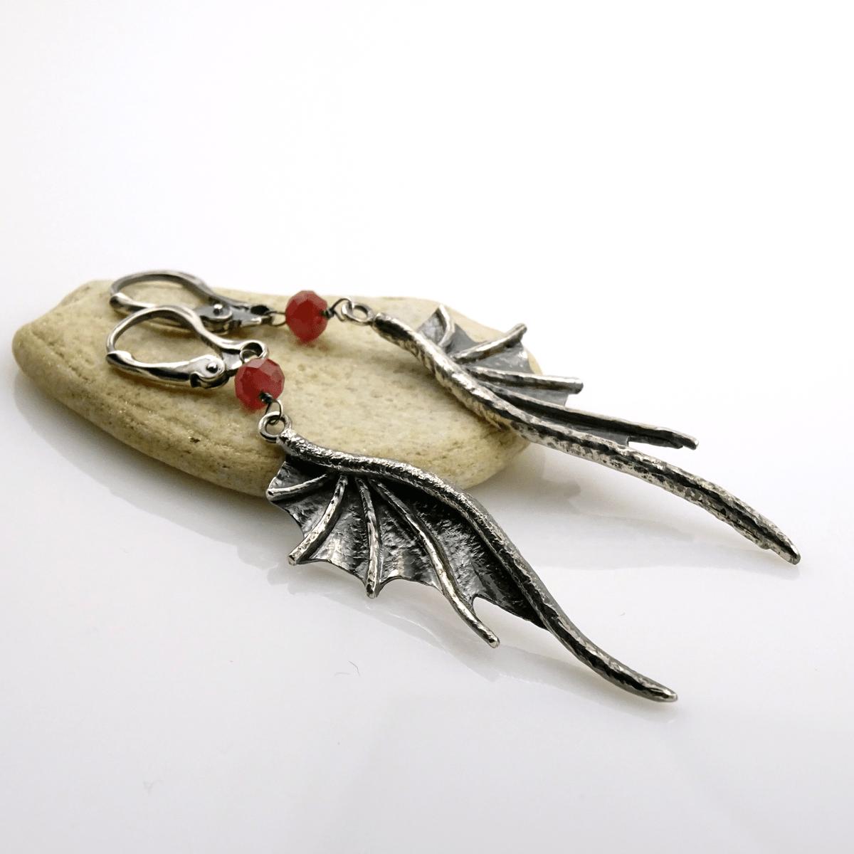 Kolczyki Long Dragon Wings z rubinami